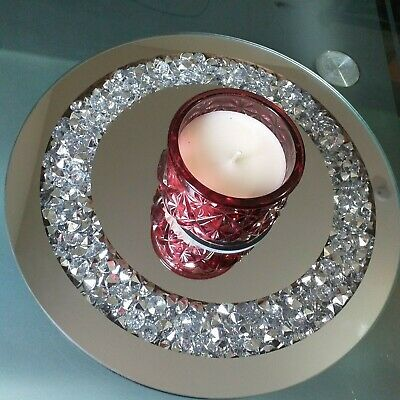 25CM DECORATIVE GLASS MIRRORED CANDLE PLATE BLING WEDDING TABLE ROUND GLITTER