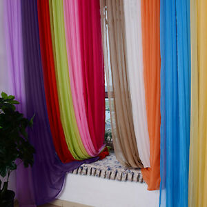 Solid-Valances-Tulle-Voile-Treatment-Door-Window-Curtain-Drape-Panel-Sheer-Scarf