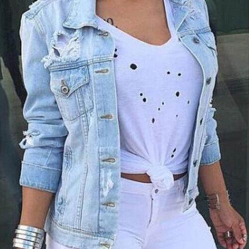 Styliah Womens Long Sleeve Coat Slim Fit Denim Short Casual Jean Jacket Outwear