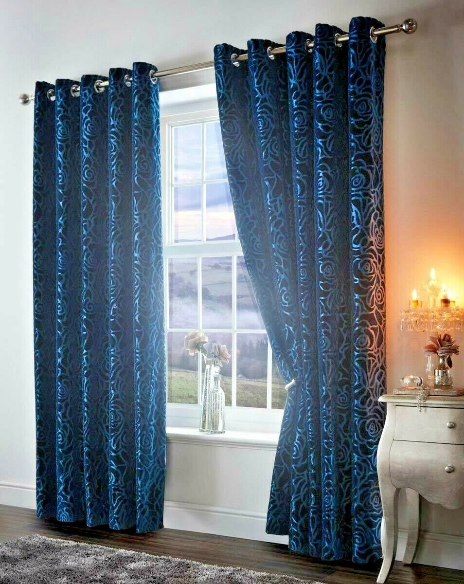 AMELIA TEAL FLORAL 66  x 90  READY MADE EYELET RING TOP FULLY LINED CURTAINS
