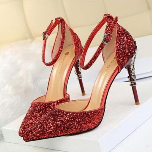 a59e0903f15 Cinturón Elegantes Sandalias Purpurina Aguja 5 Tacón Rojo Zapatos Salón 9  De wqFH0zgRz