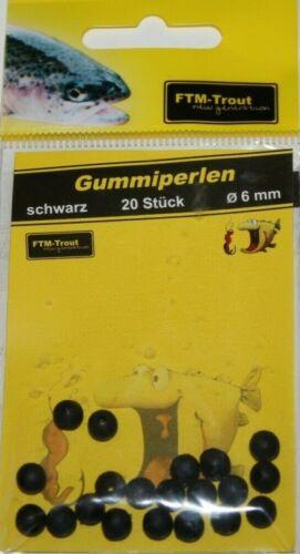 FTM Gummiperlen Schwarz 20 Stück 6mm Fishing Tackle Max