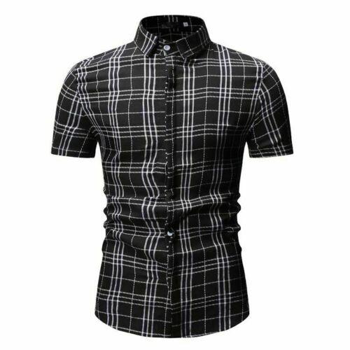 Fashion Men/'s Summer Casual Dress Slim Fit Shirt Short Sleeve Shirts Tops Tee