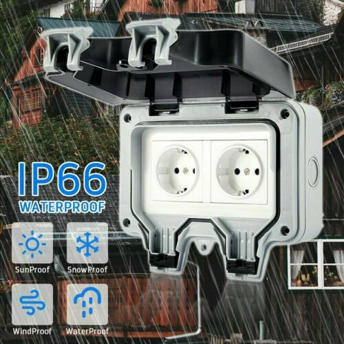 IP66 Außensteckdose Gartensteckdose Aufputz Unterputz Outdoor Steckdose 250V 16A