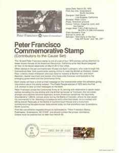 #7507 18c Peter Francisco Stamp #1562 Souvenir Page