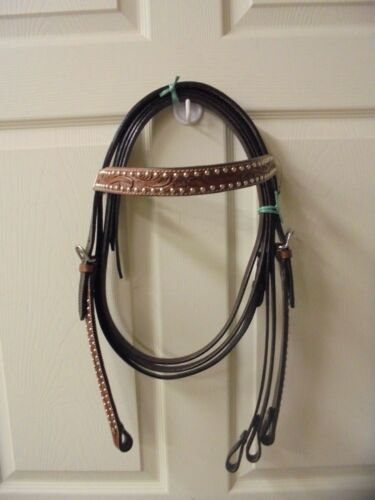 Tough 1 Leather Headstall//Reins D Oil W//Brown Brow /& Cheeks With Silver Dots