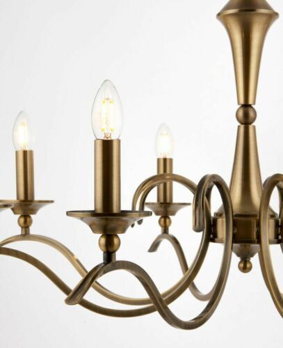 885mm Antique Brass Dimmable Pendant or Semi Flush Dia 8 Light Chandelier