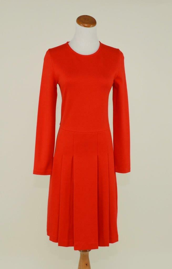 J.CREW  PLEATED PONTE DRESS 10 FLAME RED STRETCH WORK OFFICE PARTY F8768