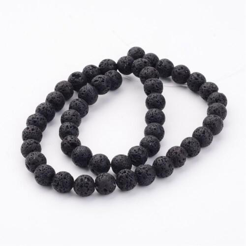 1531 45 Pièces Camée Perles Perles Lava Gemme Noir 8 mm