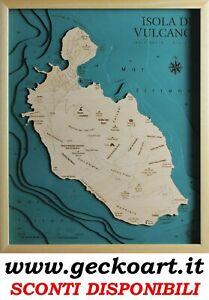 Isola di Vulcano Eolie Mappa Cartina 3D Quadro Moderno Map Chart www.geckoart.it