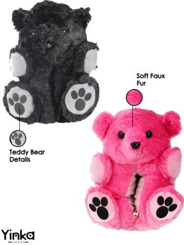 Girls Boys Kids Teddy Bear Faux Fur Novelty Plush 3D Animal Bootie Slippers