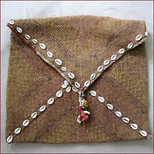LARGE ANTIQUE BANJARA DOWRY BAG HAND STITCHED COWRIE SHELLS INDIA