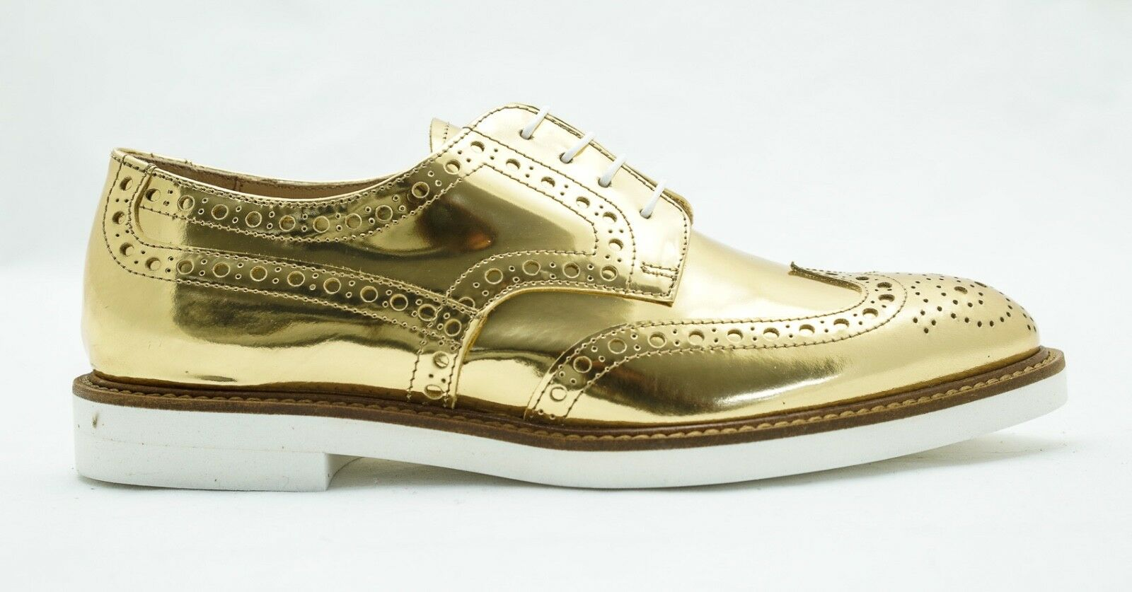 Roberto Serpentini Women's Gold Leather Brogues 1703