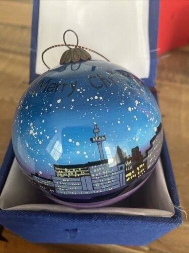 Hand Painted Liverpool Skyline Glass Bauble