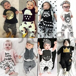 0a26e22b9aa 2pcs Newborn Infant Baby Boys Girls Kids Clothes T-shirt Tops+Pants ...