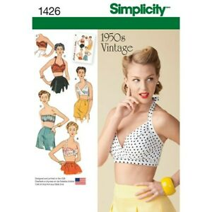 Simplicity-Sewing-Pattern-1426-Womens-Vintage-Replica-Bra-Tops-14-22