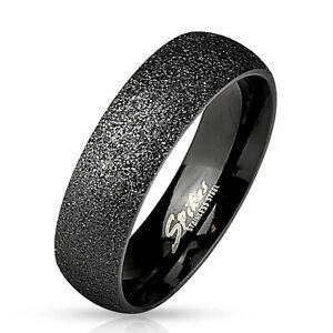 Ring-sandgestrahlt-Schwarz-Edelstahl-Damenring-Herrenring-Verlobung-Hochzeit-Ehe