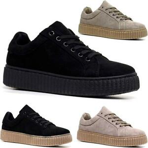 62a33a413d7a Ladies Womens Chunky Platform Suede Lace Up Creepers Trainers ...