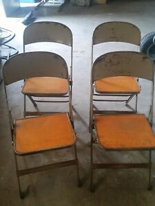 Image is loading CLARIN-MFG-CO-Wood-Metal-Folding-Chairs : brown metal folding chairs - Cheerinfomania.Com