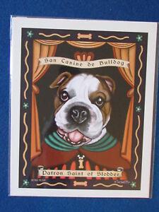 Retro-Pets-Dog-Art-Print-10-034-x8-034-Krista-Brooks-Bulldog