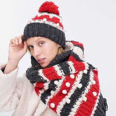 New Womens Lurex Sparkle Chunky Knit Bobble Hat Scarf and Glove Mittens Set