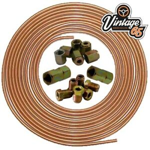 Brake-Pipe-Copper-Line-3-16-25ft-Joiner-Male-Female-Nuts-Ends-Tubing-Joint-Kit