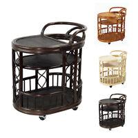 Trolley Handmade Rattan Wicker Serving Moving Cart W/wheels,woven Bar Table