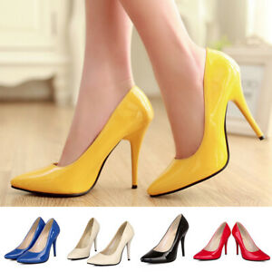 Women-Pointed-Toe-Stilettos-High-Heels-Classic-Dress-Pumps-Slip-On-Party-Shoes