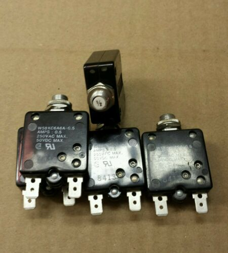 Lot of 10pc Potter brumfield 1//2 amp circuit breaker 250vac 50vdc w58xc6a6a-0.5