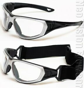 ERB NT2 Clear Anti Fog Safety Glasses Hybrid Goggles Black/Silver Foam Padded