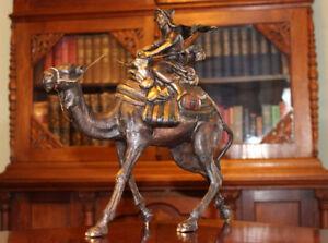 Bronze-034-Arab-Man-Riding-Camel-034-Austria-Bergman-14-034-Free-Ship