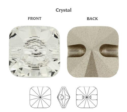 Genuine Swarovski 3009 Rivoli Carré Boutons Cristal Couleur déjouée Beaucoup Tailles