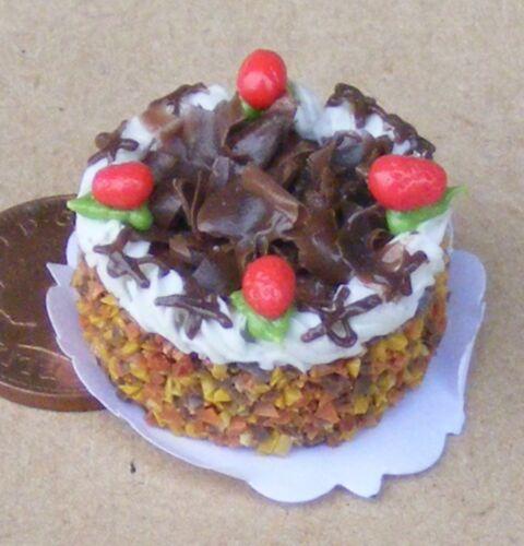 SCALA 1:12 torta rotonda con glassa al cioccolato Casa delle Bambole Miniatura Cibo Festa NC21