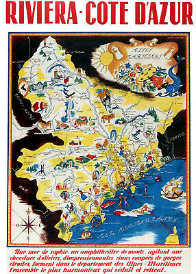 Map Of France French Riviera.Vintage Poster French Riviera Tourist Map Cote D Azur Retro Print A3 A4 France Ebay