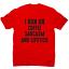 I run on coffee sarcasm and lipstick funny slogan t-shirt men/'s