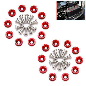 ALUMINUM 10X FENDER BUMPER WASHER BAY DRESS UP SCREW BILLET JDM BOLTS ENGINE G