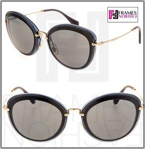 Miu Sunglasses Women Black Noir Eye Cat Mu50rs Gold 50r Grey BrOaBq