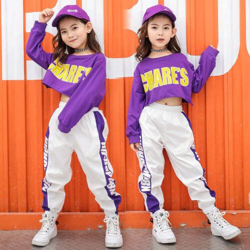 Kid Cropped Sweatshirt Shirt Jogger Pants Hip Hop Clothing Clothes Jazz Dance