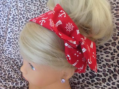 NEW NAUTICAL RED SAILOR COTTON BENDY WIRE WIRED HAIR HEAD BAND 50s VINTAGE STYLE