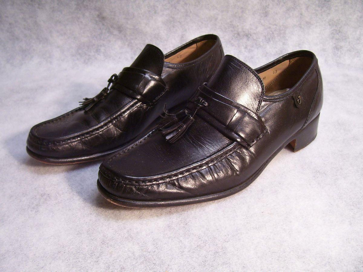 De Colección francés Shriner negro de cuero con borlas Mocasines Zapatos 8 B