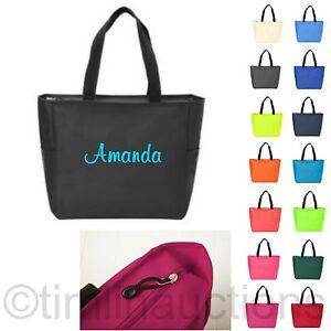 Zip-Personalized-Monogram-Tote-Bag-Bridesmaid-Gift-Bride-Teacher-Nurse-Handbag