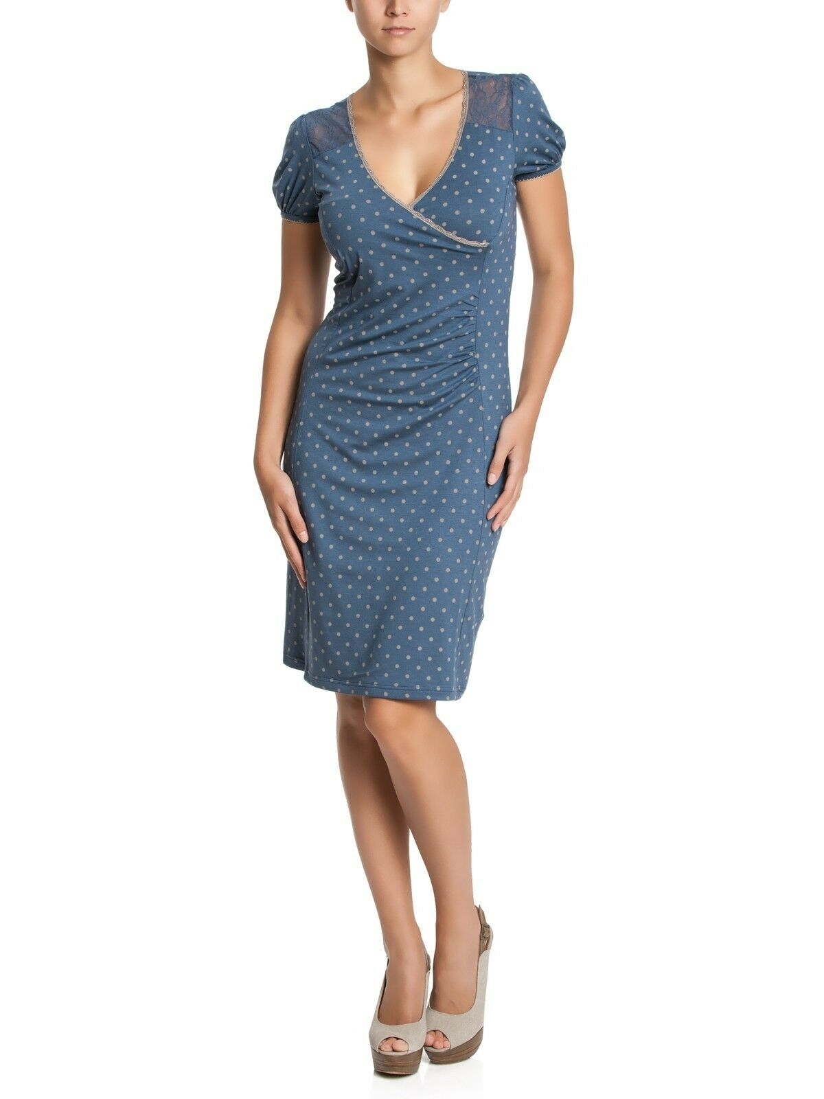 Vive Maria Kleid Punkte Blau Spitze Lace Spot At Blau Dress Blau 31454