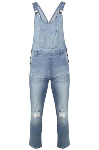 Women/'s Ladies Denim Dungarees Slim Fit Ripped Light /& Black Wash Jeans Jumpsuit