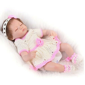 Purple Knit Dress Headband Clothes for 10/'/'-11/'/' Reborn Baby Girl Doll