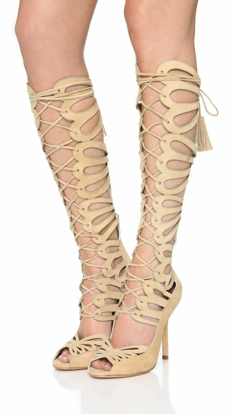 Brand New Alice+Olivia Naomi Knee High Suede Gladiator Sandal 39.5 9.5 So Sexy