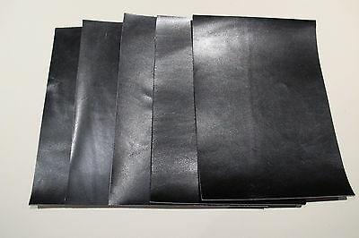 5 Pieces Smooth slightly Distressed Antique Black shoe leather  15cm x 8cm