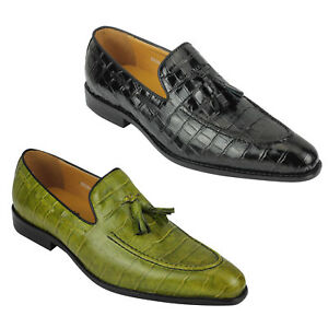 Xposed Mens Retro Designer Style Green Beige Crocodile Print Real Leather Slip on Loafers Dress Party Shoes