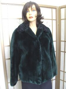 3002f5700 BRAND NEW GREEN SHEARED BEAVER PERSIAN LAMB FUR COAT JACKET WOMEN ...