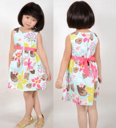 Flower Girl Dress Blue Flower Print Children Clothing Size 2-10 Years UK STOCK !