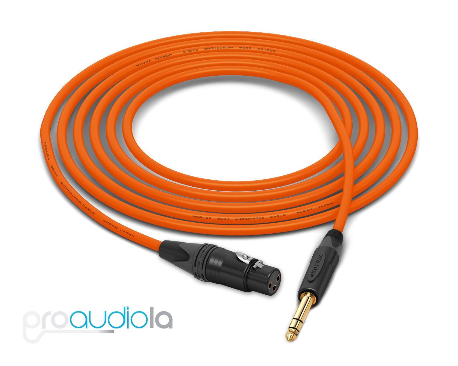 Mogami Quad 2534 Cable   Neutrik guld XLR-F TRS   Orange 175 Feet   175 Ft. 175'